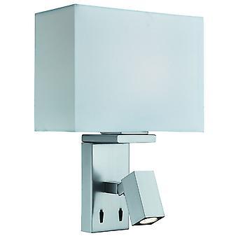 Lámpara de pared de plata satinado con lámpara de lectura ajustable - reflector 0882SS
