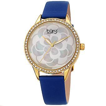 Burgi Women's BUR209 Swarovski Crystal Diamond Sparkle Leather Watch BUR203BU