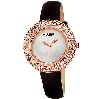 Akribos XXIV AK1049BKR Ladies Crystal Swarovski Studded Fashion Leather Strap Watch