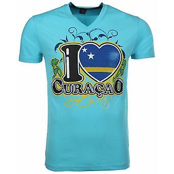 T-Shirt I Love Curacao-Blue