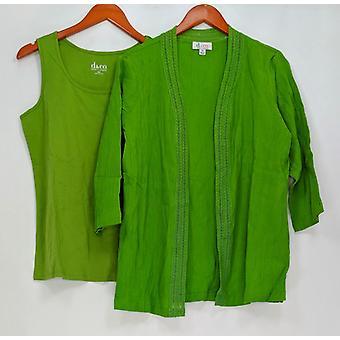 Denim & Co. Women's Top 3/4 Sleeve Open Gauze w/ Tank Green A219319