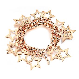 14K Gold Plated Star Chain Bracelet, 17.5cm