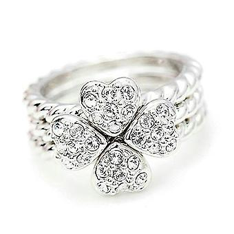 18K White Gold Plated 3 in 1 Clover Heart Ring