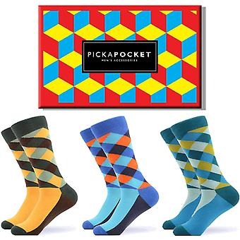 Men's bright cross pattern gift box 3 pairs of socks