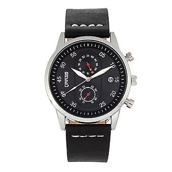 Breed Andreas Leather-Band Watch w/ Date - Silver/Black