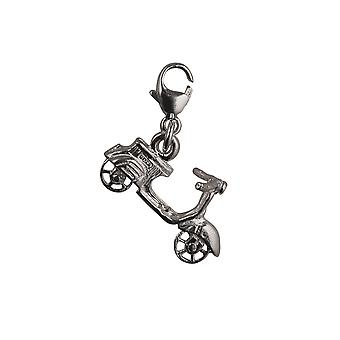 Silver 11x20mm Scooter Charm with a lobster clasp