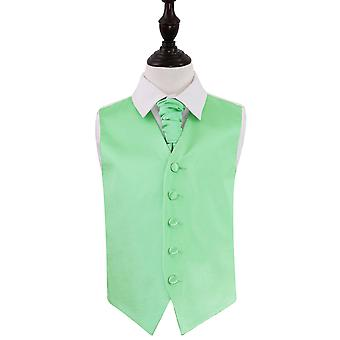 Boy's Mint Green Plain Satin Wedding Waistcoat & Cravat Set
