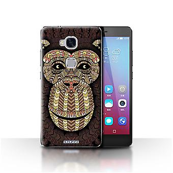 STUFF4 Case/Cover for Huawei Honor 5X/GR5/Monkey-Sepia/Aztec Animal