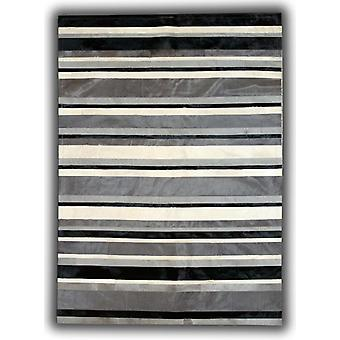 Rugs -Patchwork Leather Cowhide - ST4 Black Grey stripes