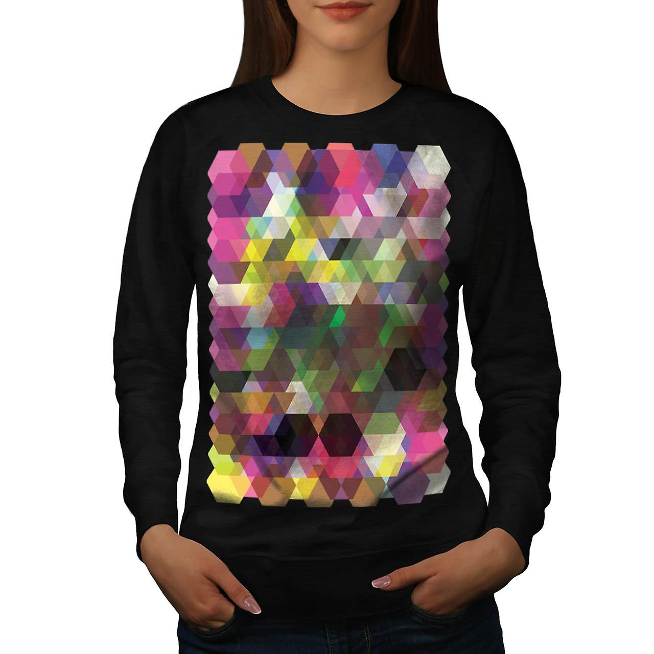 Polygon Colour Shape Crazy Pattern Women Black Sweatshirt | Wellcoda
