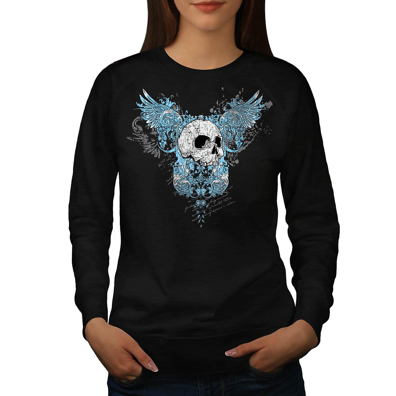 Wings Goth Biker Skull Women Black Sweatshirt | Wellcoda