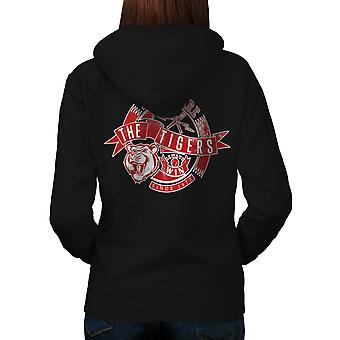Wellcoda | Sports Wear The Tiger Depth  Womens Black Hoodie
