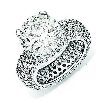 Sterling Silver Fancy CZ Pave Ring - Ring Size: 6 to 8