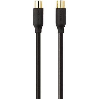Antennas, SAT Cable [1x Belling-Lee/IEC plug 75Ω - 1x Belling-Lee/IEC socket 75Ω] 2 m 90 dB gold plated connectors Black
