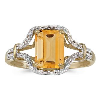 10k Yellow Gold Emerald-cut Citrine And Diamond Ring