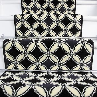 90cm Width - Contemporary Black & White Geometric Stair Carpet