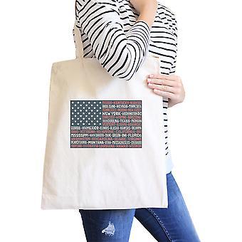 50 estados bandera Natural lona lavable Tote bolsa de 4 de julio de regalo