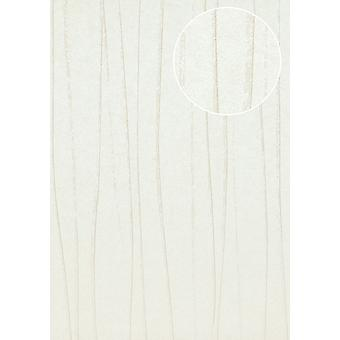 Creamy white wallpaper Atlas stripes COL-566-9 non-woven wallpaper smooth design shimmering white light brown 5.33 m2