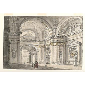 Charles Michel Ange Challe View of Church Interior Poster Print Giclee