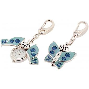 Gift Time Products Sparkly Butterfly Clock Key Ring - Silver/Blue