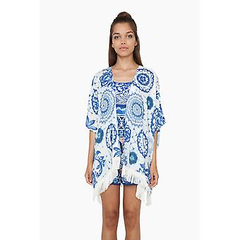 Desigual women's poncho cloak of exotic jeans