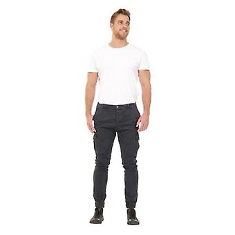 Men's Slim Fit Cargo Trousers - Navy Slim Fit  Elasticated at ankle