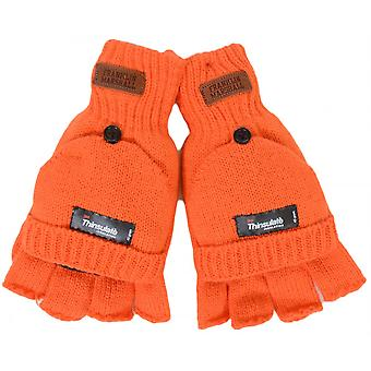 Franklin & Marshall Half Finger Mitten Orange Gloves