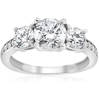 1 3/4ct Three Stone Round Diamond Engagement Ring 14K White Gold