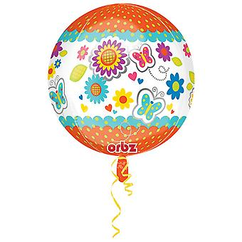 Amscan Get Well Soon bloemen/vlinder Supershape Orbz ballon