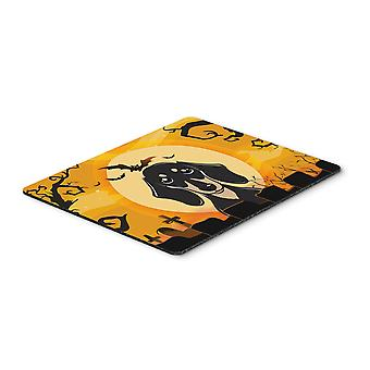 Halloween Smooth Black and Tan Dachshund Mouse Pad, Hot Pad or Trivet