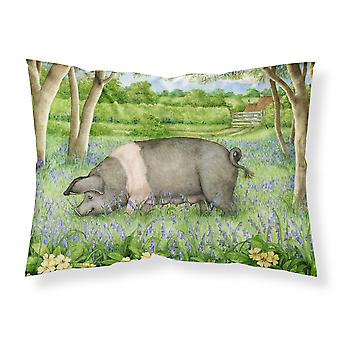 Pig In Bluebells by Debbie Cook Fabric Standard Pillowcase