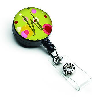 Lettera W monogramma - Lime verde retrattile Badge Reel