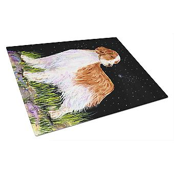 Starry Night Welsh Springer Spaniel Glass Cutting Board Large