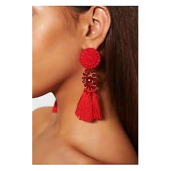 The Fashion Bible Zara Red Tassel Earrings