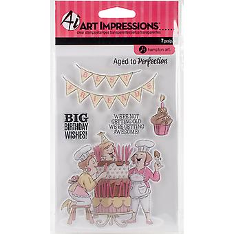 Art Impressions Clear Rubber Stamps-Big Birthday Wishes SC0794