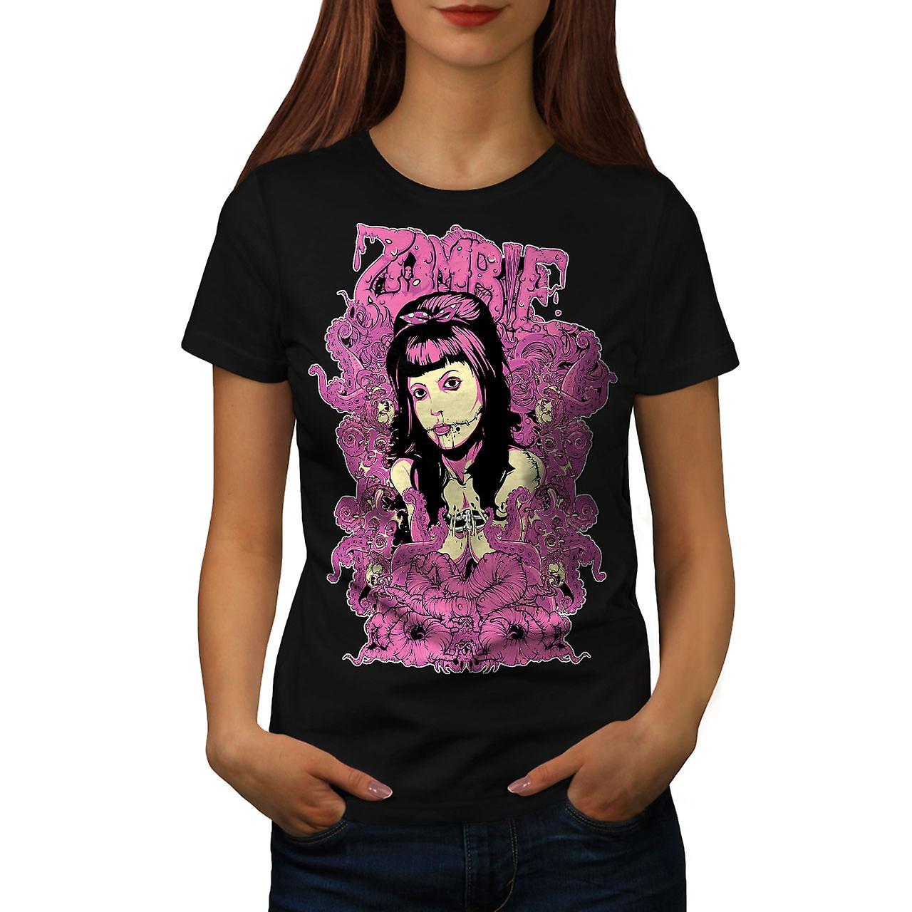 Girl Creepy Death Zombie Women Black T-shirt | Wellcoda