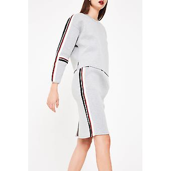 Elli White Sweater Skirt With Side Stripe