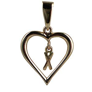 9ct Yellow Gold 18x18mm heart with a hanging Initial X