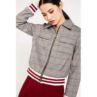 Elli White Check Cropped Jacket