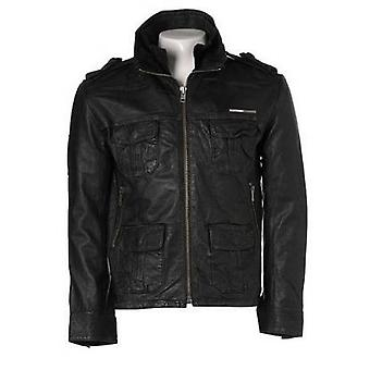 Justin Mens Leather Hooded Jacket