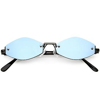 Extreme Small Geometric Rimless Sunglasses Mirrored Lens 52mm