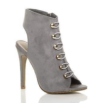 Ajvani kvinners høy hæl gullknapper militære åpne tilbake peep toe sko sokker sandaler