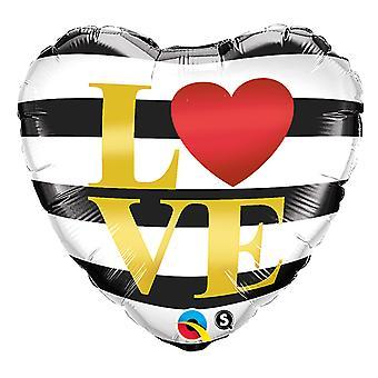 Folienballon Herz schwarz weiß gestreift Love Liebe Hochzeit circa 45cm