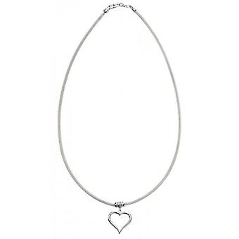 Elements Silver Mesh Chain with Heart Charm Necklace - Silver