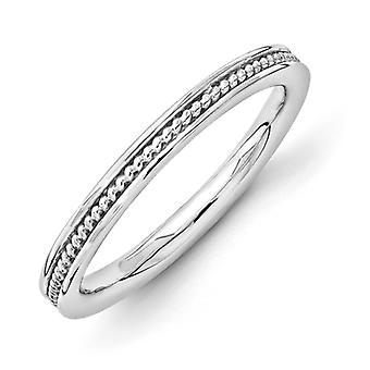 2.25mm Sterling Silver Rhodium-plated Stackable Expressions Rhodium Channeled Ring - Ring Size: 5 to 10