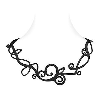 Waves in Silicone black effect tattoo necklace