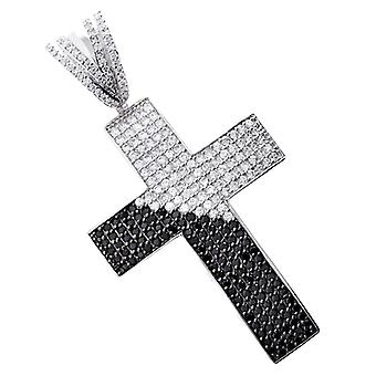 Iced Out Bling MICRO PAVE Anhänger - DIAGONAL KREUZ