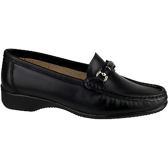 Cotswold Ladies Barington Smart Leather Moccasin Shoe Black