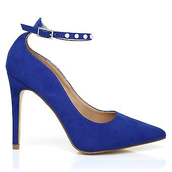 ROYAL Electric Blue Faux Suede Ankle Strap Pointed High Heel Court Shoes