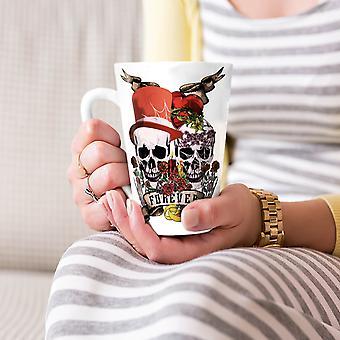 Liefde voor eeuwig metalen schedel nieuwe witte thee koffie keramische Latte Mok 17 oz | Wellcoda